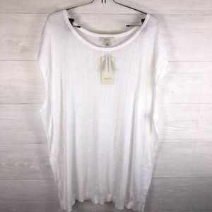 Sejour NWT Women's 2X White Short Sleeve Blouse